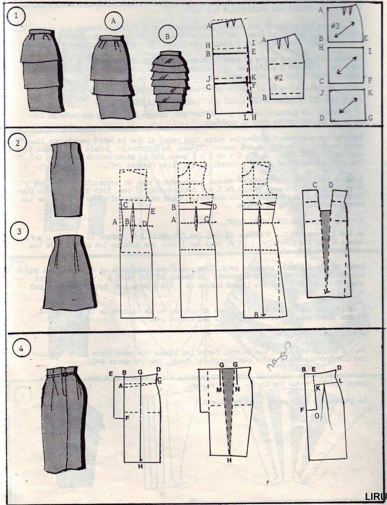 Выкройка юбки вельвета