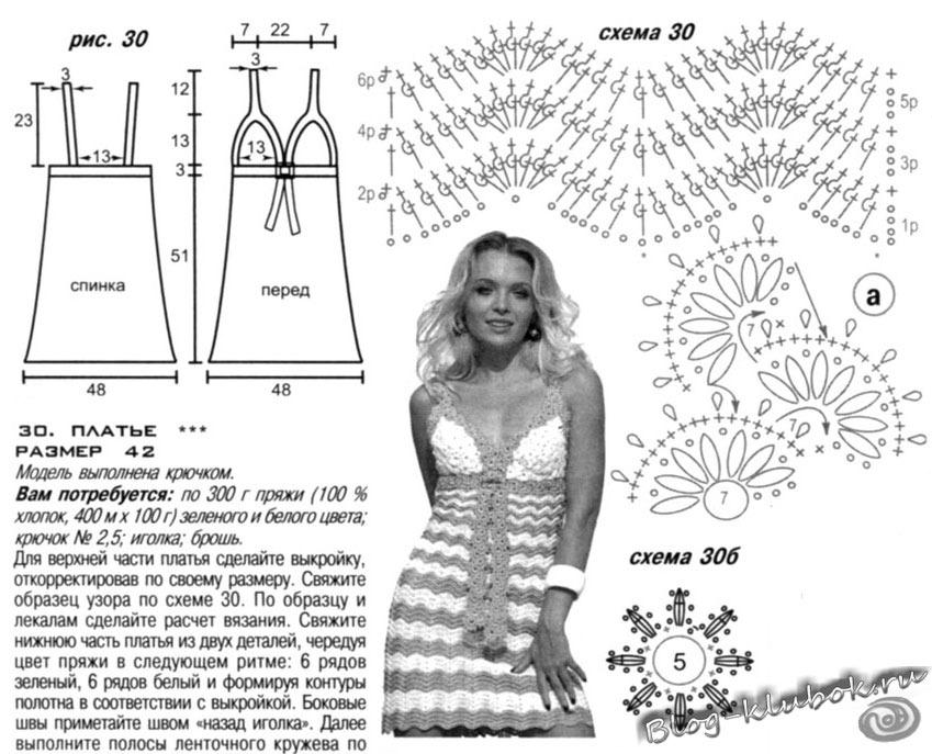 Схема вязания летних платьев и сарафанов крючком схемы