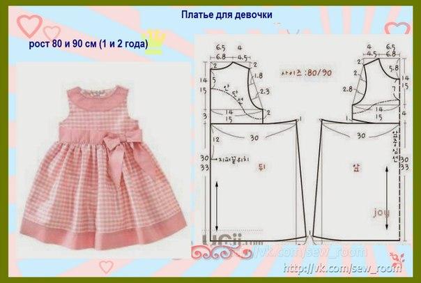 Выкройки детских платьев от 2 до 3 лет